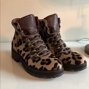 Leopard Calf Hair Hiker Boots